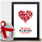2nd Wedding Anniversary Gift COTTON Two Year As Personalised Print Present