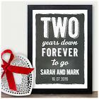 2nd Anniversary Gifts PERSONALISED Chalkboard Style Print - Second Anniversary