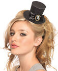 New Leg Avenue A1068B Skull Cameo Glitter Clip-On Top Hat Black