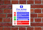 Fire Action HSE sign Health & Safety FA01 25cm x 30cm sign or sticker