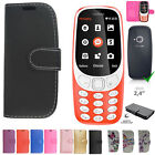 For Nokia 3310 Cover Case Flip Leather Phone Black Pink Blue Purple 2017