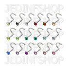 Nose Stud Screw - 0.8mm (20g) - 8mm - Single Gem - Stainless Steel