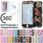 Ultra Thin 360° Full Body Protective Case For iPhone 5s 6s 7 Plus Tempered Glass