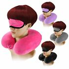 Memory Foam Travel Neck Cushion Support Pillow Massager Stress Eye Mask Sleep