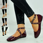 Womens Ladies Flat Dolly Pumps Ballet Ballerina Ankle Strap Studded Shoes Size