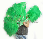 "A pair of emerald green single layer Ostrich Feather Fan 24""x 41"" with packaging"