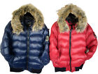 Ladies Brave Soul Faux Fur Collar Padded Jacket Navy And Red Sizes 8-16