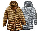 Ladies Attrait  Metallic Silver And Gold Padded Jacket Coat Bomber Sizes 8-16