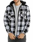 Men's Quilted Zip-Up Hooded Flannel Plaid Jacket Sweater Hoodie M-2XL  4 Colors