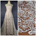 1 yard off white squins on plyester embroidery wedding dress lace fabric 130cm