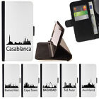 WORLD CITIES SKYLINE SILHOUETTE WALLET CASE COVER FOR APPLE IPHONE 7 PLUS