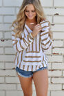 US Womens Striped Jumper Tops Ladies Hooded Hoddies Pullover Tops Shirts Blouses