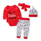 4Pcs/Set Newborn Baby Girls Boys long sleeve Christams Romper +Pants Hat Outfits