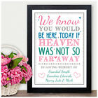 We Know You Would Be Here Today PERSONALISED Memorial Wedding Sign Loved Ones