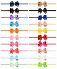 UK SELLER Baby Girl Twist Bow Headband Skinny Elastic 20 Colours Pink White Navy