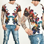 New NS Mens Summer Casual Tops Shirts COLORFUL FLOWER PRINTED GLAZED ROUND TEE