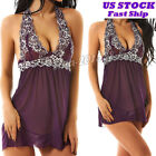 Women's Sexy Lace Lingerie Sleepwear Babydoll Thong Nightwear Underwear Dress US