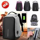Unisex Anti-Theft Backpack Laptop USB Port Charger Travel Oxford School Bags GW