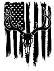 Distressed American Flag Whitetail Deer Buck Hunter Antler Decal Sticker #2