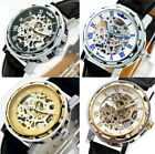 Winner Classic Skeleton Dial Hand Winding Sport Army Watch BF Black leather band