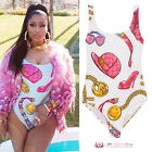 Womens Sexy White Nicki Celeb Inspired Fasion Bodysuit Sports Swimwear
