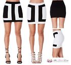 Womens Sexy Summer LBD Black White Patchwork Pencil Party Short Mini Skirt