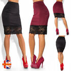 Womens Sexy Black Red Stretchy High Waist Lace Trim Bodycon Pencil Mini Skirt