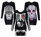 Women Ladies Halloween Skull Skeleton Print Top TShirt Legging Plus Size 8-26