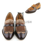 NewStylish mens fashion shoes loafer Flat tassel contrast texture brogue