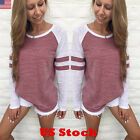 USA Women Ladies Long Sleeve Casual Tops Shirt Fashion Crew Neck Blouse Tops New