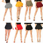 Womens Ladies Layered Frill High Waisted Stretchy Crepe Sexy Mini Skort