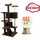 Kitty Condo BestPet CT9073 Cat Tree Condo Furniture, Surface Material Faux Fur, 73-Inch, Brown