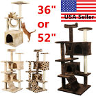 "36"" / 52"" Cat Tree Tower Condo Furniture Scratch Post Kitty Pet House Play House"