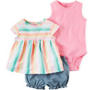 NWT Carters Baby Girls 3 Pc Bodysuit Top & Bubble Shorts Set Outfit