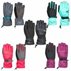 Trespass Embray Womens Ski Gloves Waterproof in Pink Blue & Black Grey & Purple