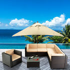 6-10PC Outdoor Furniture Sectional PE Wicker Patio Rattan Sofa Set Couch Brown