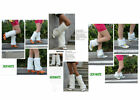 WHITE Faux Fur Leather Grass Leg Warmers Women Shoes Cover Socks Club Dancing