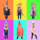 Kids Halloween Costume Wizard Witch Cape Cloak Coat Gown Robe and Hat Set WK09