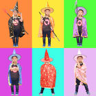 Childrens Halloween Enchanter Stars Witch Wizard Cloak Gown Robe and Hat