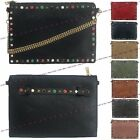 Womens Ladies Leather Style Studded Envelope Clutch Evening Shoulder Chain Bag