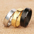 6mm Silver/GoldBlack/Blue Polished Bands Titanium Steel Men Women Ring Size 5-14 image