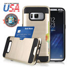 Hybrid Rubber Shockproof Card Holder Hard Phone Case Cover Fits Samsung Galaxy