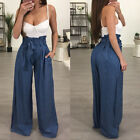 Women Autumn High Waist Pleats Wide Leg Fashion Long Trousers Pants With Belt