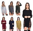 Womens Knitted Oversized Distressed Torn Long Jumper Top Sweater Dress Size 8-18
