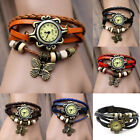 Fashion Women Girl Retro Charming Bracelet Faux PU Leather Quartz Wrist Watches
