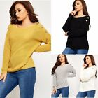 Womens Ladies Knitted Deep Scoop Neck Long Sleeve Buttoned Jumper Sweatshirt Top
