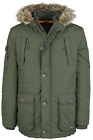 Crosshatch Mens Heavy Weight Fur Hood Parka Padded Winter Coat Jacket New