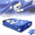 Pet Blanket Small Medium Large Print Pet Cat Dog Fleece Soft Warmer Bed Mat Blue