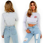 Women Floral Embroidery T Shirt Long Sleeve Casual Crop Top Blouse Pullover