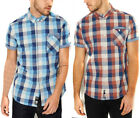 Crosshatch Chunk Check Short Sleeve Shirt   Mens Size